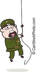 Cartoon Sergeant Climbing Rope in Training Vector Illustration