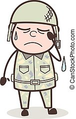 Cartoon Sergeant Crying Face Expression Vector Illustration