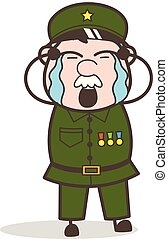 Cartoon Sergeant Crying Vector Illustration