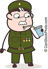 Cartoon Sergeant Drinking Energy Water Vector Illustration