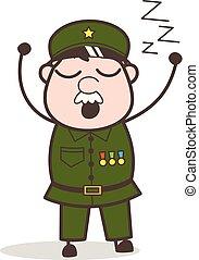 Cartoon Sergeant Feeling Very Sleepy Vector Illustration