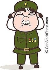 Cartoon Sergeant Getting Irritate Vector Illustration