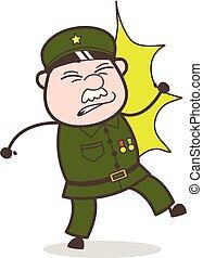 Cartoon Sergeant Got Hurt Vector Illustration