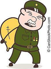 Cartoon Sergeant Having Lots of Responsibility Vector Concept