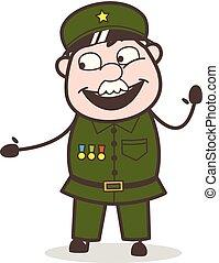 Cartoon Sergeant in Friendly Mood Vector Illustration