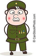 Cartoon Sergeant Injured Face Vector Illustration