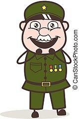 Cartoon Sergeant Joyful Face Vector Illustration