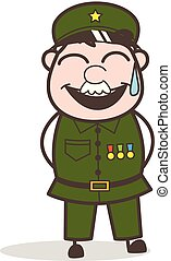 Cartoon Sergeant Laughing Face with Cold Sweat  Vector Illustration