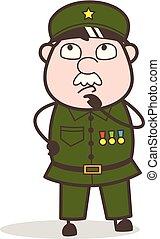 Cartoon Sergeant Making Plan Vector Illustration