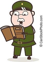 Cartoon Sergeant Reading Book Vector Illustration