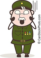 Cartoon Sergeant Screaming in Fear Face Vector Illustration