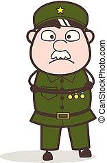 Cartoon Sergeant Shocked Face Vector Illustration