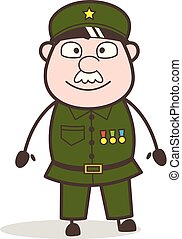 Cartoon Sergeant Smiling Facial Expression Vector...