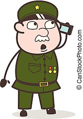 Cartoon Sergeant Talking on Phone Vector Illustration
