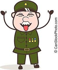 Cartoon Sergeant Teasing Tongue Vector Illustration