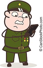 Cartoon Sergeant Typing Message Vector Illustration