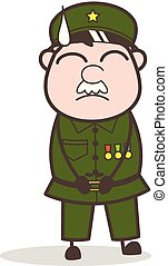 Cartoon Sergeant Very Sad Face Vector Illustration