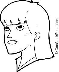 cartoon serious woman