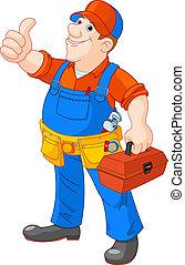 Cartoon serviceman - Cartoon illustration of serviceman...