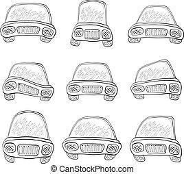 Cartoon, set cars, contours