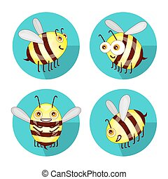 Cartoon set flat bees isolated on white background vector