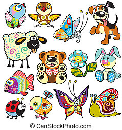 cartoon set for kids - set with cartoon animals and toys for...