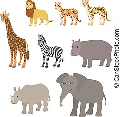 Cartoon set lion leopard cheetah giraffe zebra hippo rhino elephant