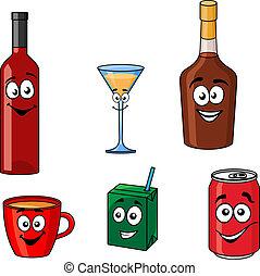 Cartoon set of assorted beverages or drinks