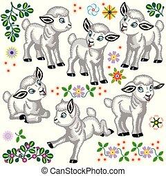 cartoon set of baby sheep