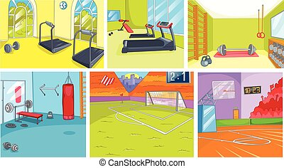 Cartoon set of backgrounds - sport infrastructure