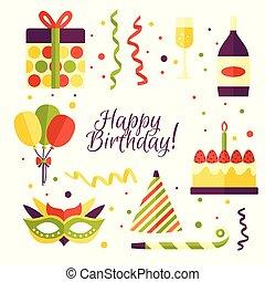 Cartoon set of birthday party items, decorations