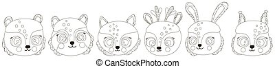 Cartoon set of black and white cute faces of forest animals with round cheeks. Outline heads of a bear, fox, raccoon, hare, squirrel, deer. Isolated contour clipart to coloring book, DIY. Vector.