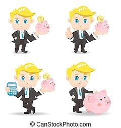 Business man with piggy bank