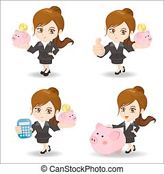 Business woman with piggy bank - Cartoon set of Business ...