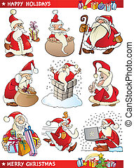 Cartoon Set of Christmas Themes - Cartoon Illustration of...