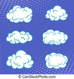 Cartoon set of clouds in comic book