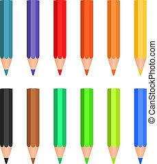 Cartoon set of colored wood pencils
