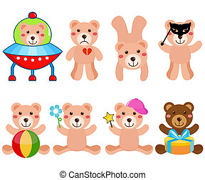 Cartoon set of cute Vector Bears