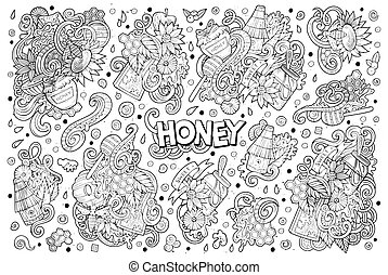 cartoon set of Honey theme doodles design elements