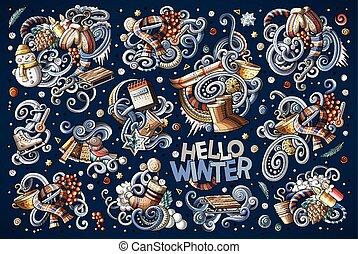 Cartoon set of Winter season doodles designs - Colorful...