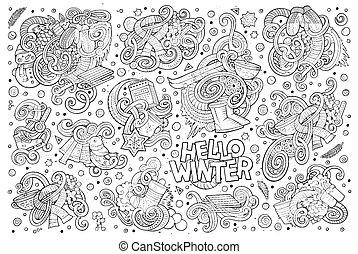 Cartoon set of Winter season doodles designs - Line art...