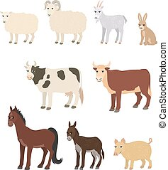 Cartoon set sheep goat donkey horse cow bull pig rabbit