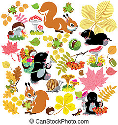 set with autumnal harvest of forest - cartoon set with...