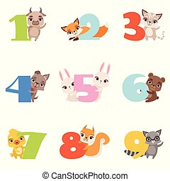 Cartoon set with colorful numbers from 1 to 9 and animals. Calf, fox, cat, dog, rabbit, bear, duckling, squirrel, raccoon. Flat vector for kids education cards, books or posters