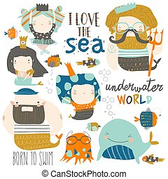 Cartoon set with little mermaids. Under the sea