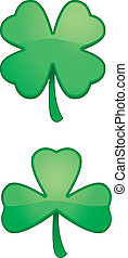Cartoon Shamrock - Two green cartoon shamrocks or clovers.