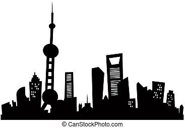 Cartoon Shanghai Skyline - Cartoon skyline silhouette of...
