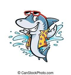 Cartoon Shark Beach - cartoon shark with beachwear and...