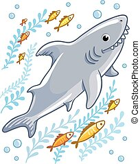 Cartoon shark in the sea surrounded by little fish.