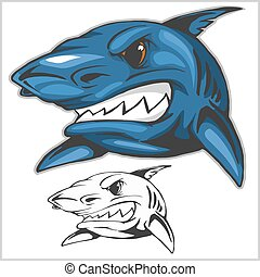 Cartoon shark mascot. Vector illustration - Cartoon shark...